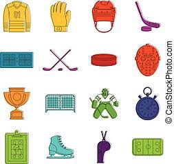 Hockey icons doodle set