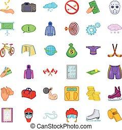 Hockey icons set, cartoon style