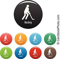 Hockey icons set color vector