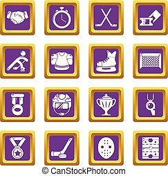 Hockey icons set purple square vector