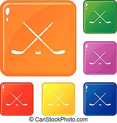 Hockey icons set vector color