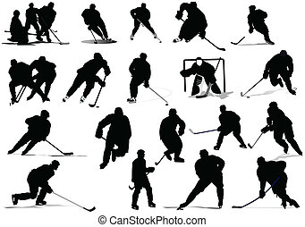 hockey, illustr, players., vektor, eis