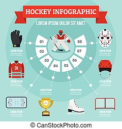 Hockey infographic concept, flat style