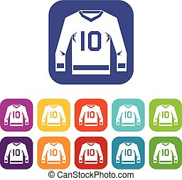 Hockey jersey icons set flat