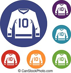 Hockey jersey icons set in flat circle red, blue and green...