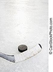 hockey klibbar, och, puck.