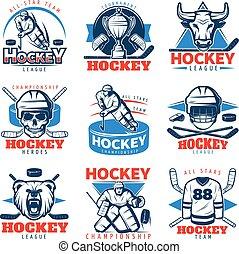Hockey League Emblem Set