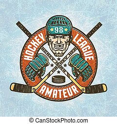 Hockey logo - a head of the hockey player wearing a helmet, ...