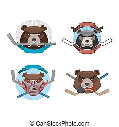 Hockey logo bear set. Muzzle animals with sticks for ice hockey team. Fierce and angry animals. Vector illustration logo