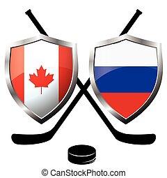 hockey logo- canada vs russia