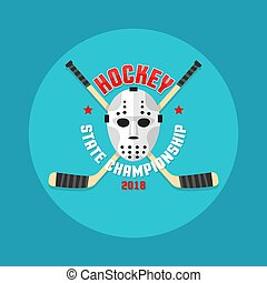 Hockey logo in a flat style with a goalkeeper's mask and crossed sticks.