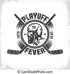 Hockey logo in vintage style with head of player