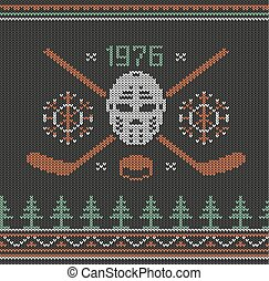 Hockey logo knitted