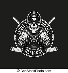 Hockey logo mascot with skull in a helmet