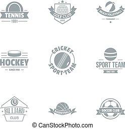 Hockey logo set, simple style