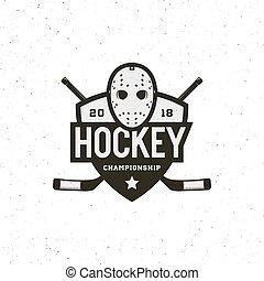 hockey logo. sport emblem, badge, design elements, logotype template vector illustration