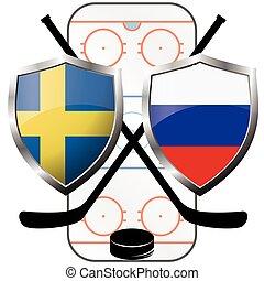 hockey logo- Sweden vs russia