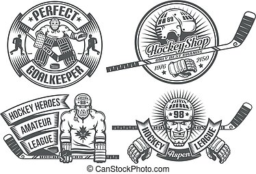 Hockey logos with the goalkeeper and hockey players in ...