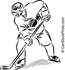 hockey man player illustration black and white