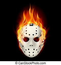 Burning hockey mask. Illustration on black background for design.