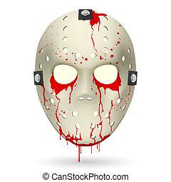 Hockey mask - Bloody Hockey Mask. Illustration on white...
