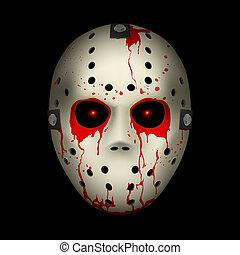 Hockey mask - Bloody Hockey Mask. Illustration on black...