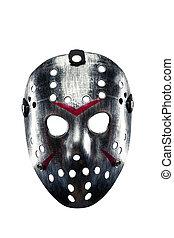 Hockey mask of serial killer isolated on white - Horrible...