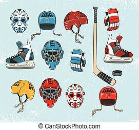 Hockey objects painted in a realistic style cartoon and ...