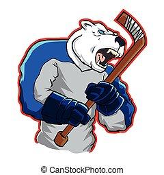 hockey, oso, hielo, mascota, polar