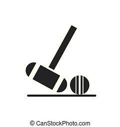 hockey, plat, isolé, crosse, champ, vecteur, conception