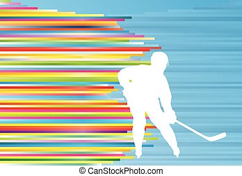 Hockey player abstract vector background illustration with...