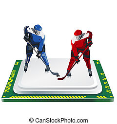 hockey player and computer processor on a white background