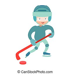 Hockey player boy vector.