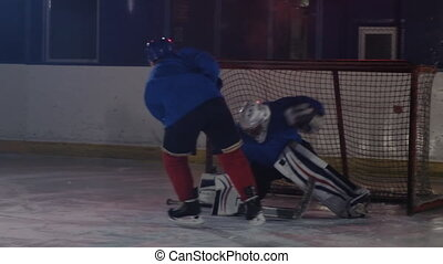 Hockey player carries out an attack on the opponent's goal...
