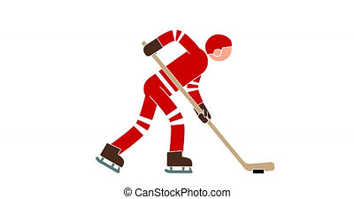 Hockey player colored animated icon with alpha channel....