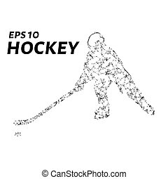 Hockey player consists of points, lines and triangles. The polygon shape in the form of a silhouette of a hockey player on a dark background. Vector illustration