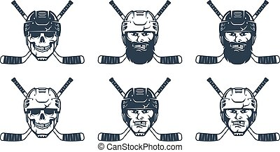 Hockey player head and crossed sticks. Hockey emblem template. Vector retro illustration.