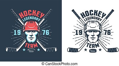 Hockey player head and crossed sticks - vintage logo