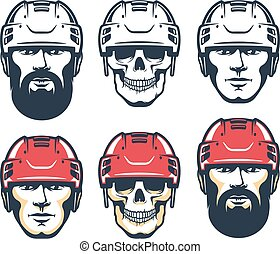 Hockey player head with beard. Skull Sport retro illustration