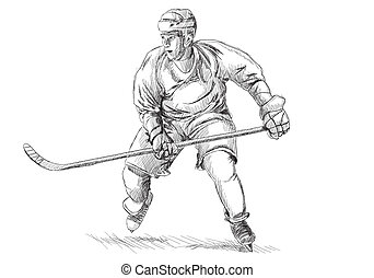 Hockey player on white background in sketch style