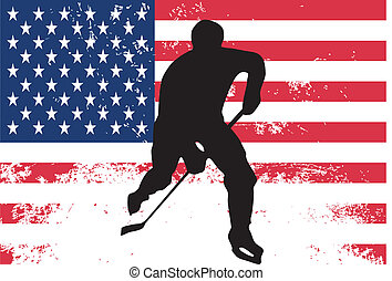 Hockey player in front of USA flag