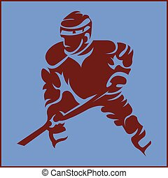 Hockey Player in Movement Mascot Silhouette