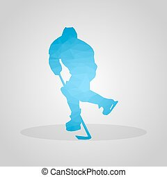 Hockey player in polygonal style on a gray background
