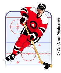 hockey player in red