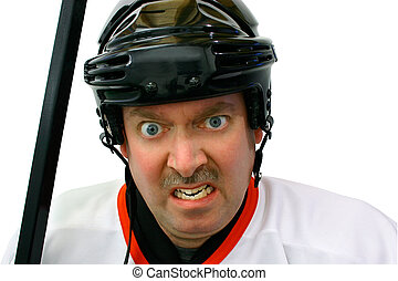 Hockey Player in the Penalty Box - Hockey player is angrily...