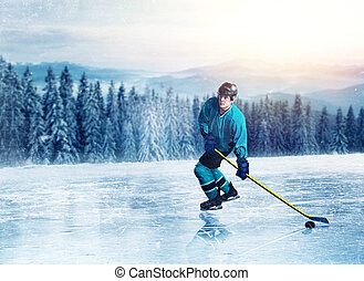 Hockey player in uniform on frozen lake, winter forest on...