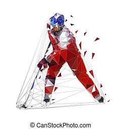 Hockey player, low polygonal ice skater in red jersey with puck, isolated vector illustration