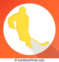 Hockey player man material design vector background