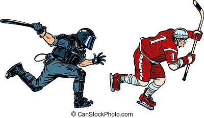 hockey player. riot police with a baton. Pop art retro vector illustration drawing