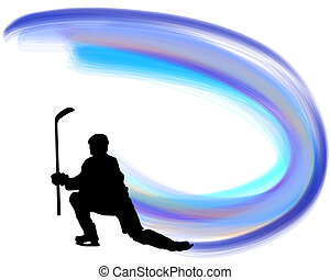 Hockey player silhouette with line background. Vector illustration with transparency EPS 10.
